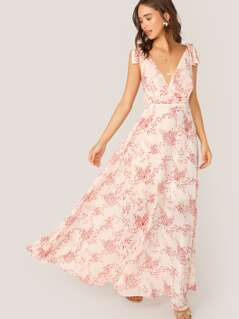 Knot Strap Backless Floral Print Maxi Dress