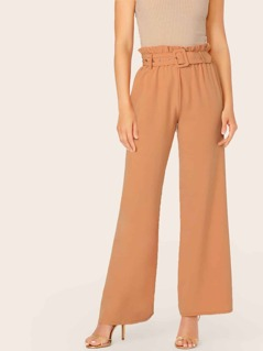 Solid Paperbag Waist Straight Leg Pants