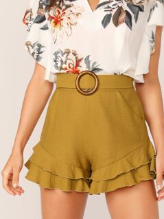 O-ring Belted Layered Ruffle Shorts