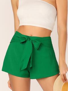 Tie Waist Solid Shorts