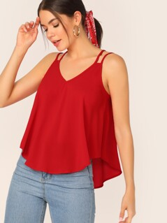 Double Strappy Dip Hem Swing Top