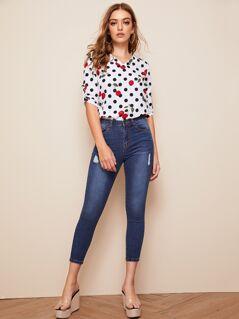 Polka-dot & Cherry Print Tab Sleeve Top