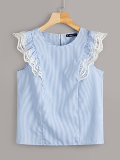 Lace Trim Ruffle Armhole Striped Top