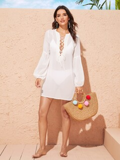 Lace Up Front Sheer Tunic Cover Up