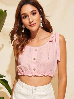 Button Front Frill Trim Crop Schiffy Top