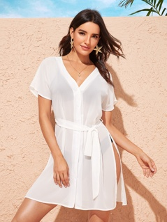 Solid Button Front Split Thigh Belted Cover Up