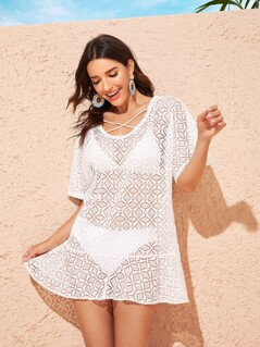 Criss-cross Flippy Hem Sheer Cover Up