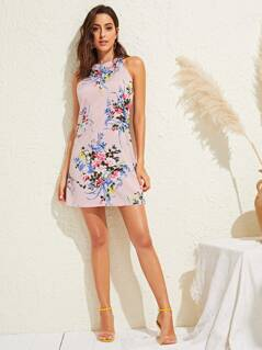 Floral Print Halter Neck Zip Back Dress