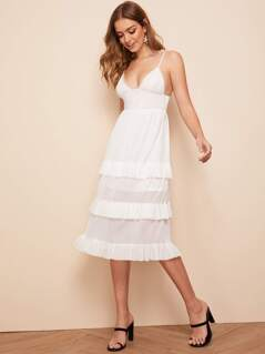 Layered Ruffle Hem Raw Hem Backless Slip Dress