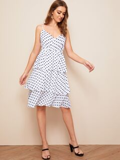 Polka-dot Print Layered Ruffle Hem Slip Dress