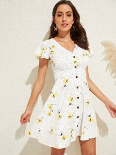Dot & Flower Print Flutter Sleeve Tea Dress