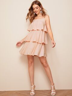 Dot Print Layered Ruffle Hem Slip Dress