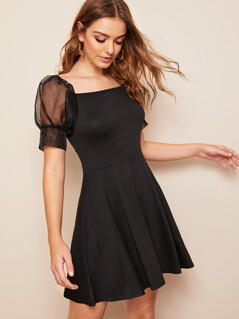 Mesh Puff Sleeve Fit & Flare Dress