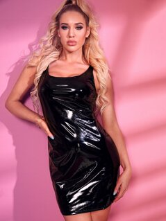 Solid Zip Back Bodycon Sleeveless PU Dress