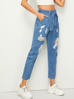 Flap Pocket Ripped Detail Belted Jeans