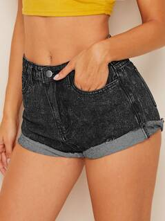 Bleach Wash Frayed Edge Denim Shorts