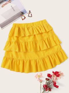 Elastic Waist Layered Ruffle Hem Skirt