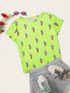 Neon Green Prickly Pear Print Tee