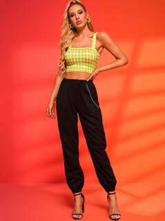Neon Green Houndstooth Crop Top