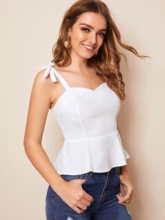 Solid Knotted Strap Peplum Top