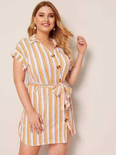 SheIn / Plus Striped Dip Hem Button Front Belted Shirt Dress