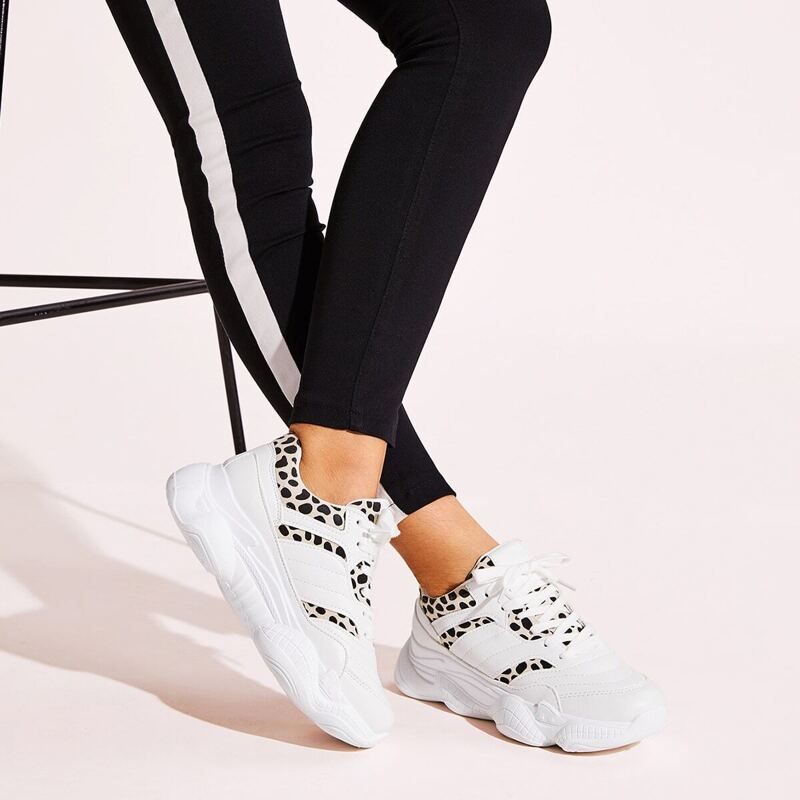 Lace-up Front Leopard Pattern Sneakers, White