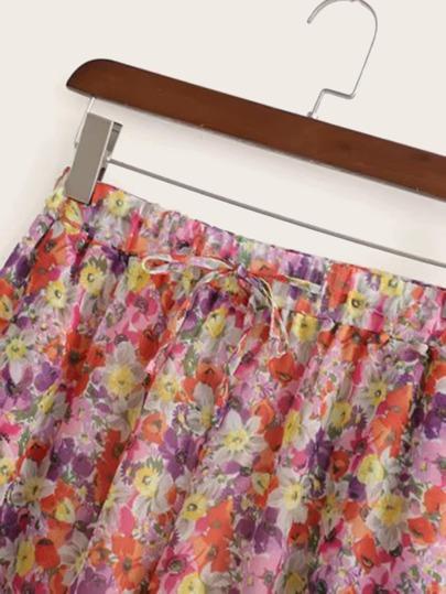 Фото 3 - Разноцветный широкий комбинезон на бретелях с карманом от SheIn цвет многоцветный