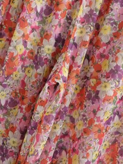 Фото 4 - Разноцветный широкий комбинезон на бретелях с карманом от SheIn цвет многоцветный