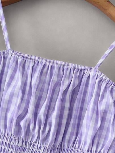 Фото 4 - Платье на кулиске с лиственным принтом от SheIn цвет многоцветный