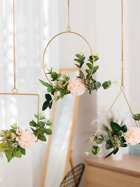 Metal Geometric Decorative Hanging Rack 1pc Without Flower