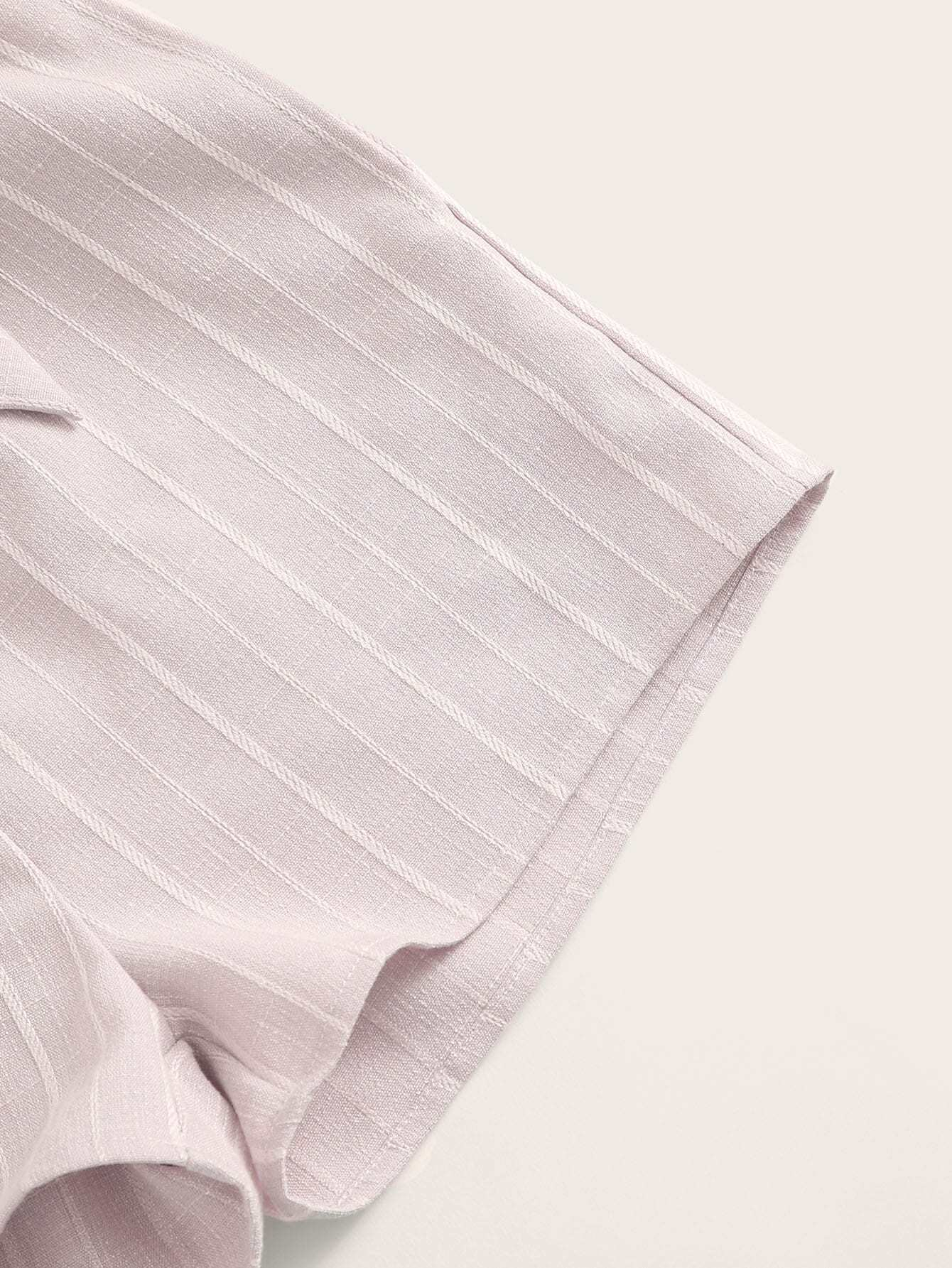 SHEIN / Conjunto de niñas bandeau sólido con shorts de rayas de cintura con volante