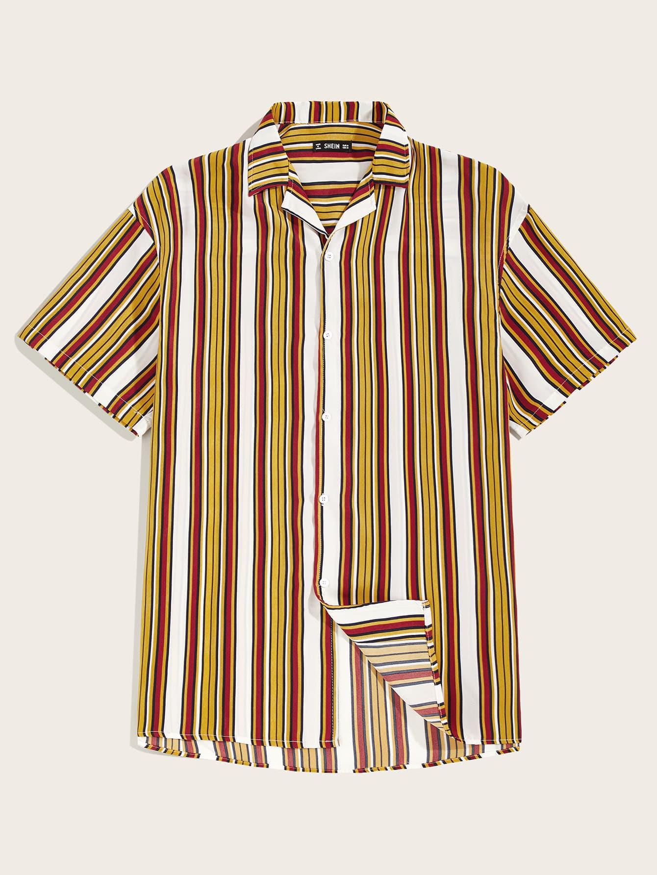 Фото - Мужская рубашка в полоску от SheIn желтого цвета