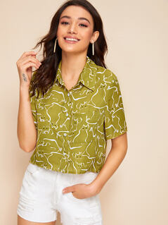 Patch Pocket Cat Print Crop Blouse