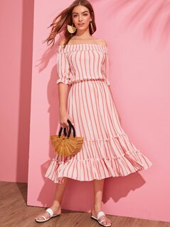 Off Shoulder Shirred Layered Frilled Striped Dress