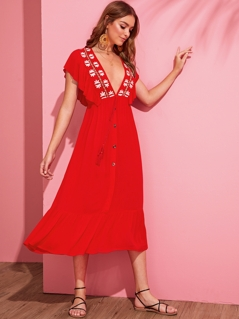 Plunging Ruffle Trim Embroidered Buttoned Dress