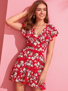 Tie Back Exaggerated Ruffle Trim Floral Print Dress