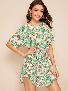 Tropical Print Self Belted Dress