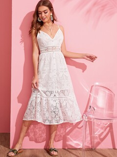 Covered Button Ruffle Hem Lace Cami Dress