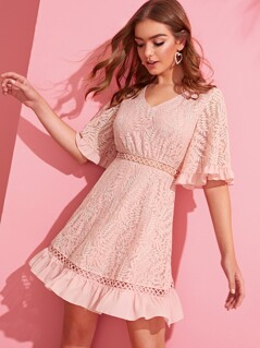 Bell Sleeve Ruffle  Trim Lace Dress