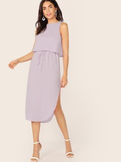 Double Layer Curved Hem Solid Dress