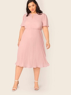 Plus Flutter Sleeve Peekaboo Pleated Dress