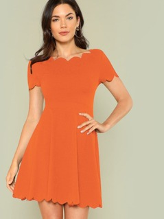 Neon Orange Scallop Edge Fit & Flare Dress