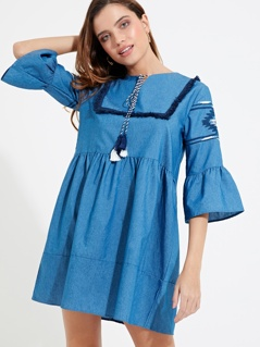 Tassel Tie Neck Bell Sleeve Embroidered Smock Dress