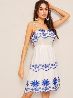 Knot Strap Scallop Trim Embroidery Dress