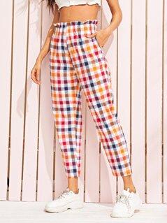 Paperbag Waist Slant Pocket Side Plaid Pants