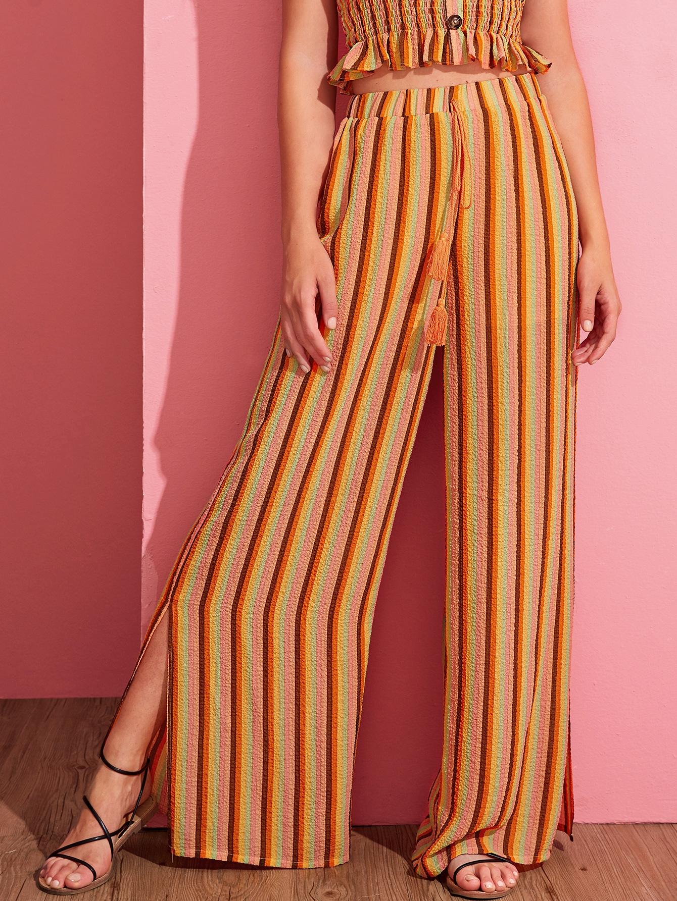 Фото - Широкие брюки в полоску с разрезом от SheIn цвет многоцветный