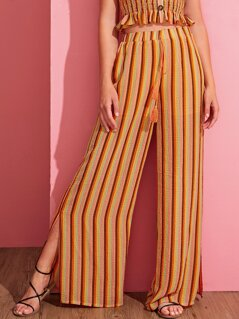 Tassel Drawstring Split Hem Wide Leg Striped Pants
