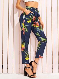 Tropical Print Belted Crop Pants