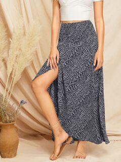 High Waist Dalmatian Print Skirt