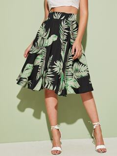 Tropical Print Wide Waistband Flare Skirt